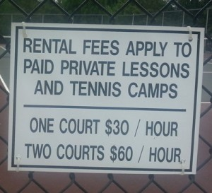 Tennis courts signage