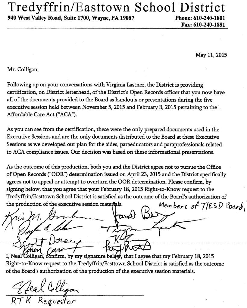 Neal Colligan vs TESD School Board letter