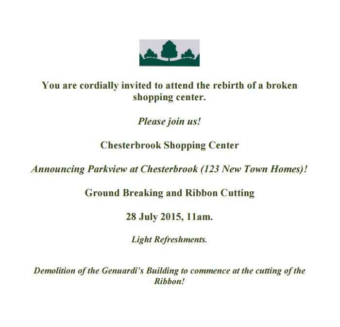 Chesterbrook ribbon cutting invitation