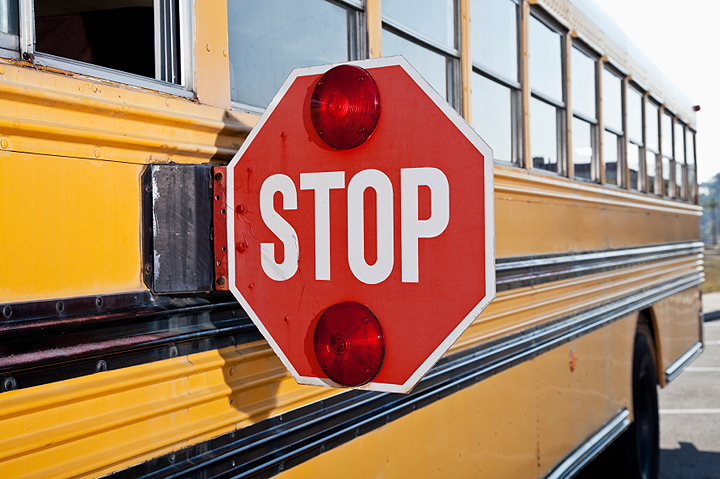 stopped school bus
